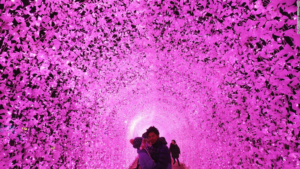DECEMBER 20 - GAPYEONG, SOUTH KOREA: A couple pose under an illuminated tunnel to celebrate the coming Christmas and New Year at the Garden of Morning Calm. Christmas is one of the biggest holidays in South Korea.