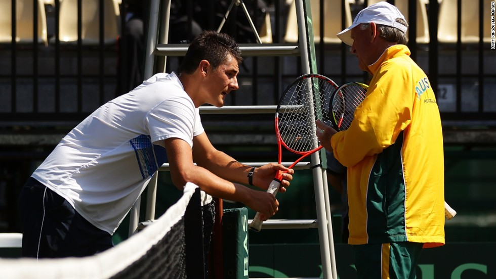 "Legendary Australian coach Tony Roche, right, reportedly berated Tomic during a Davis Cup encounter against Germany in 2012, just weeks after losing to Roddick. A month later, Tomic said he gave only ""85%"" in a loss at the Shanghai Masters."