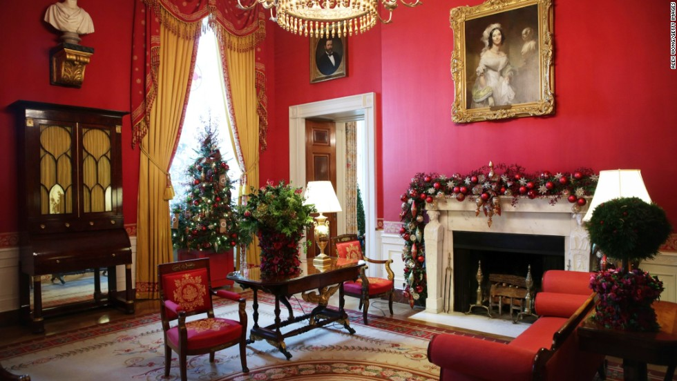 The Red Room of the White House in festive array.