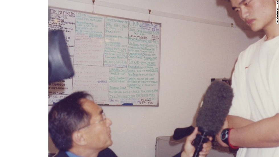 Interviewing Yao Ming for CNN on the day he was drafted by Houston Rockets, NBA's No. 1 draft of that year
