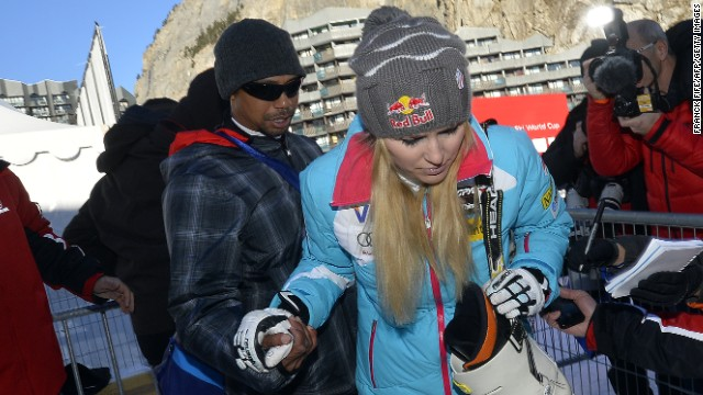 The cameras and autograph hunters were out in full force as Tiger Woods watched girlfriend Lindsey Vonn compete in France.