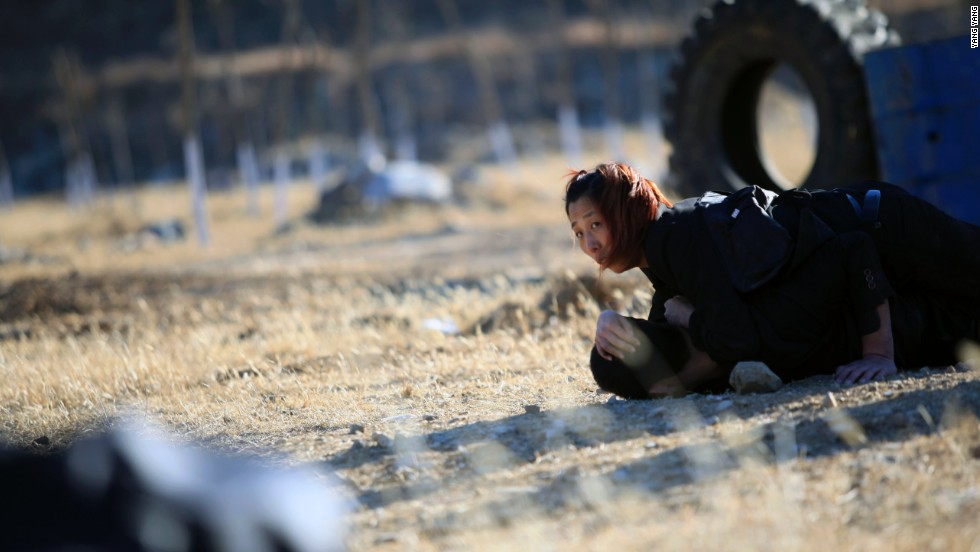 A female recruit during training at the Tianjiao International Security Academy in Beijing.