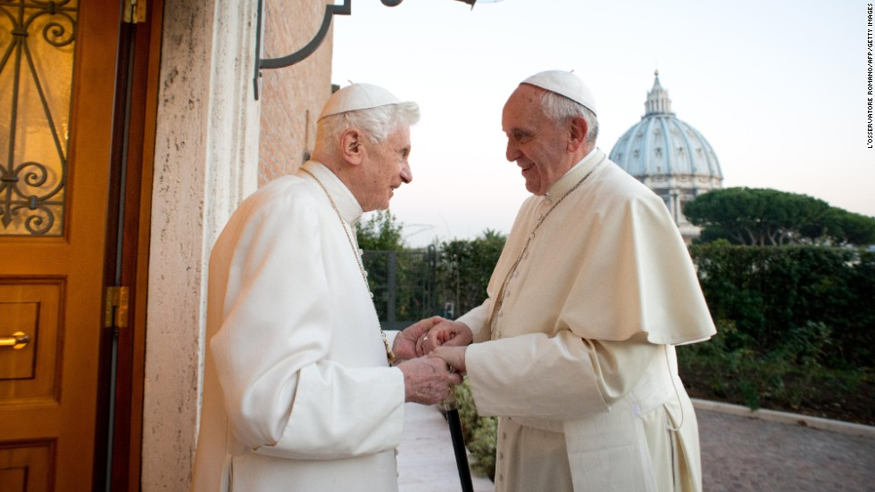 <strong>December 23:</strong> Pope Francis, right, meets with Pope Emeritus Benedict XVI at the Mater Ecclesiae monastery at the Vatican.