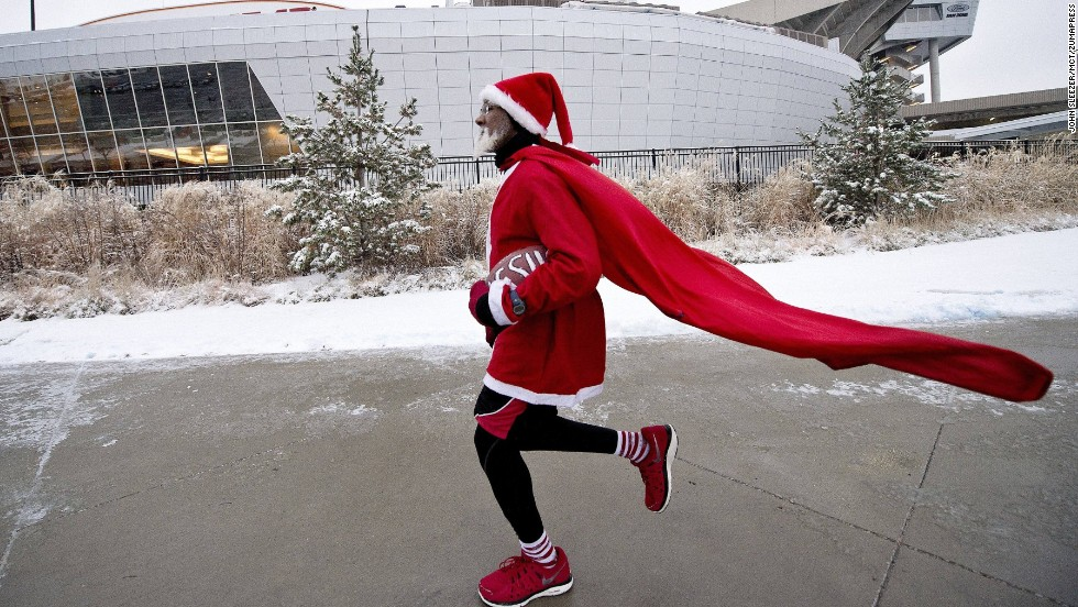Michael Wheeler of Kansas City, makes one of his seven laps around Arrowhead Stadium on Sunday, December 22, before the game between the Kansas City Chiefs and Indianapolis Colts. The 63-year-old marathon runner performs this ritual before each Chiefs home game.