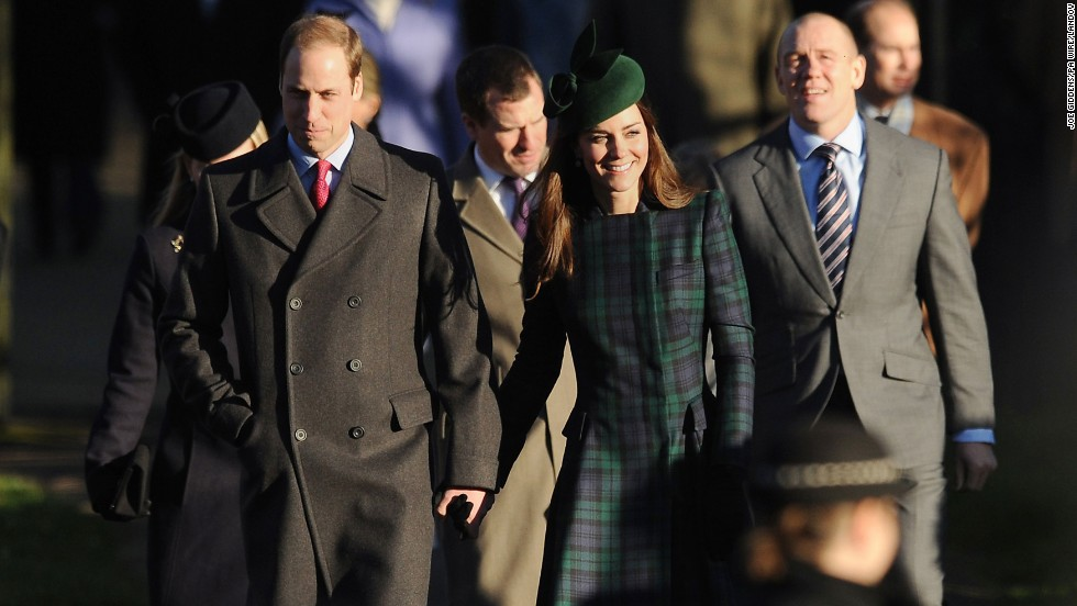 The Duke and Duchess of Cambridge arrive with other members of the royal family for a service at St. Mary Magdalene Church on the royal estate in Sandringham, England.