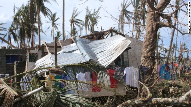 Laundry hangs to dry in Palo, Leyte.  One sign of normalcy among the ruins left behind by Typhoon Haiyan.
