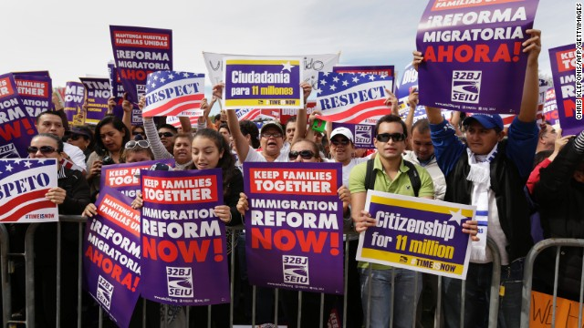 People rally in Washington in October in support of immigration reform. Tamar Jacoby says 2014 could be the year.