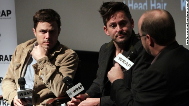 "Actor Casey Affleck and director Scott Cooper speak at a screening of  ""Out of the Furnace"" in November."