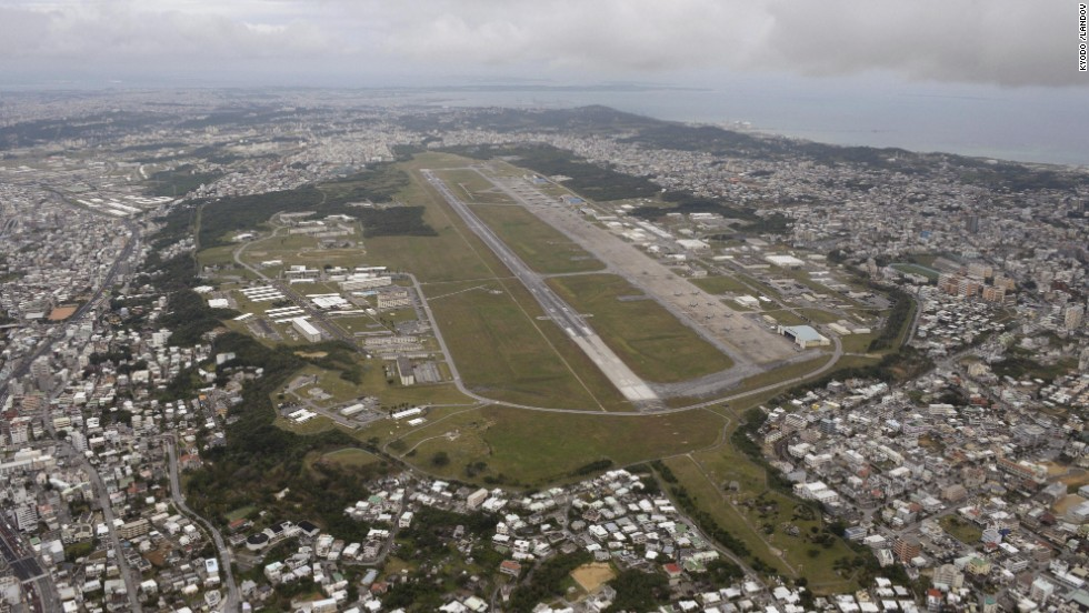 An aerial view of the U.S. Marine Corps' Futenma Air Station in Okinawa Prefecture, southern Japan. Okinawa Gov. Hirokazu Nakaima approved landfill work on December 27 to relocate the controversial U.S. military base, breaking 17 years of stagnation on the base's transfer plan, the government of Okinawa said Friday.