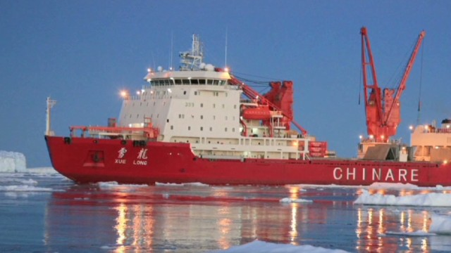 Icebreaker gets stuck; rescue stalled
