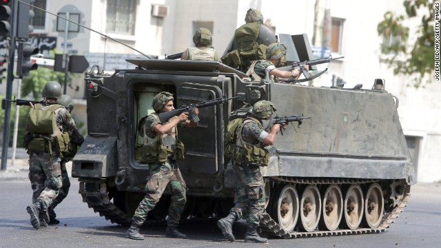 This file photo shows Lebanese Army soldiers on duty in eastern outskirts of Sidon, Lebanon.