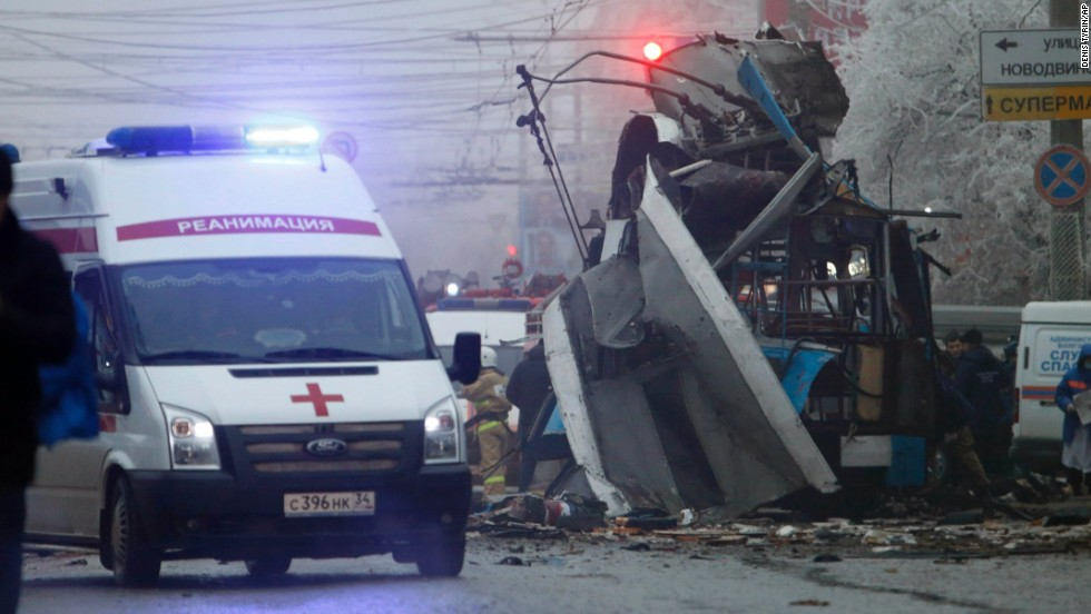 An ambulance leaves the site of a trolleybus explosion.