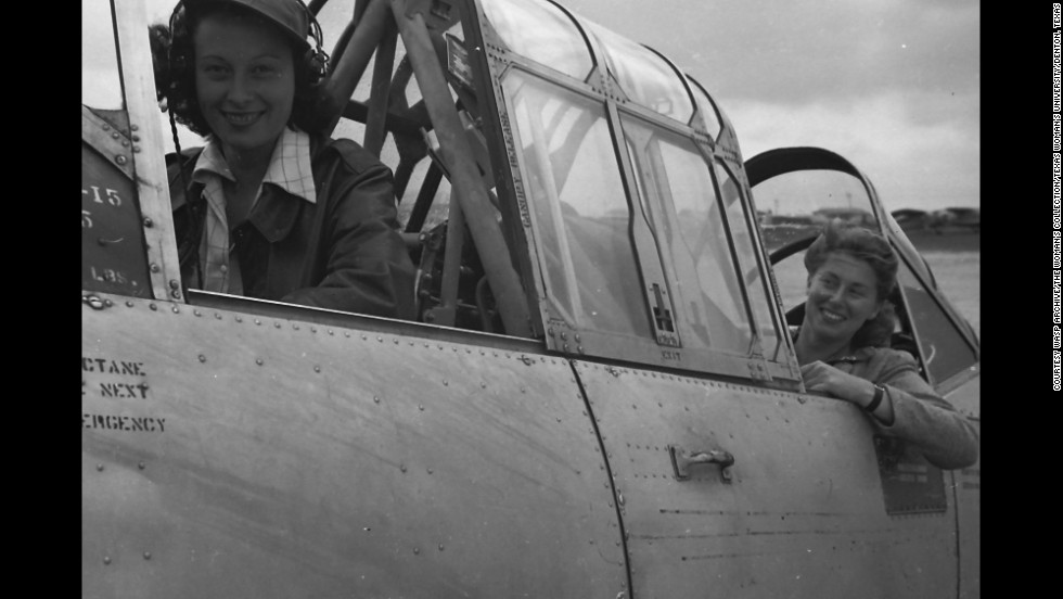 Anna Franckman and Betty Deuser in the cockpit of a  BT-13.