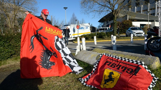 Fans have been showing their support for Michael Schumacher outside the Grenoble hospital where he is being treated.