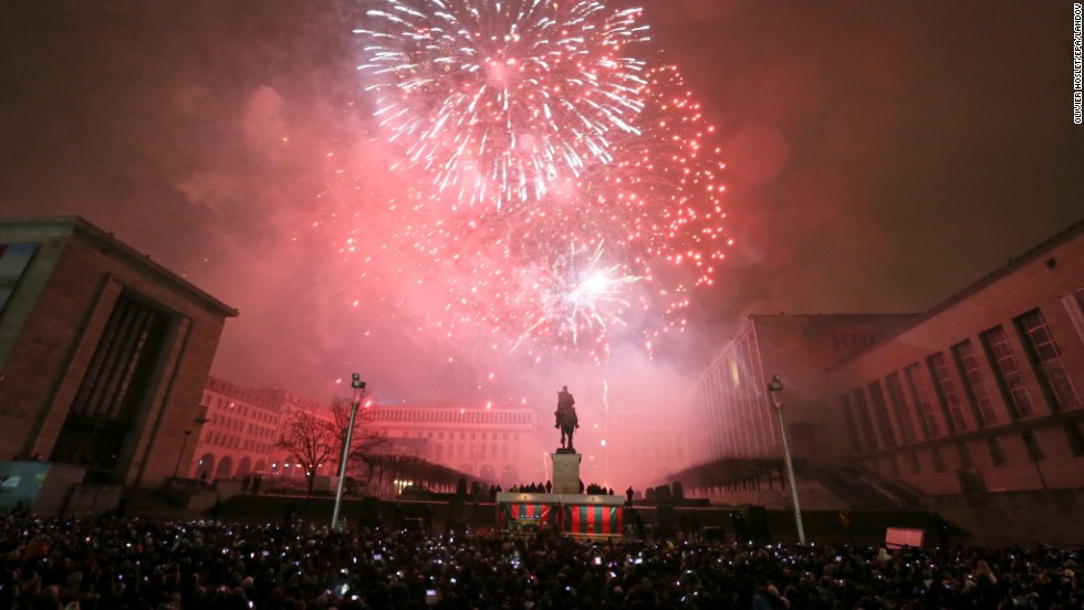 Thousands of people attend New Year's celebrations at Mont des Arts in Brussels, Belgium.