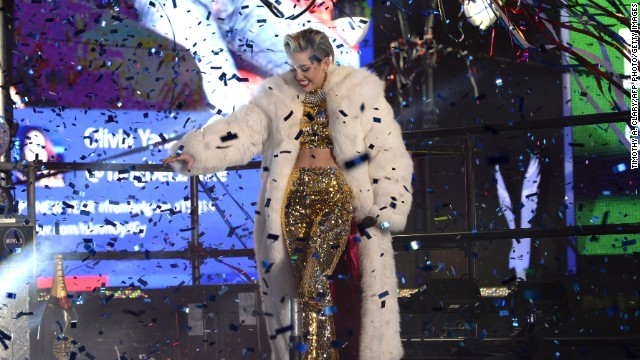 Miley Cyrus performs in New York's Times Square to celebrate the ball drop at the annual New Year's Eve party on December 31.