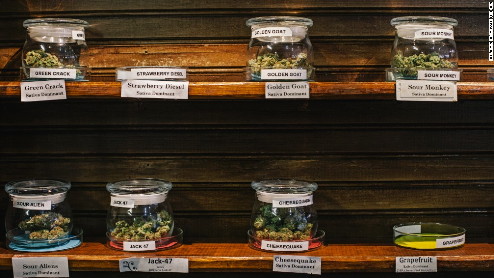 Different strains of marijuana are displayed in the Evergreen Apothecary.