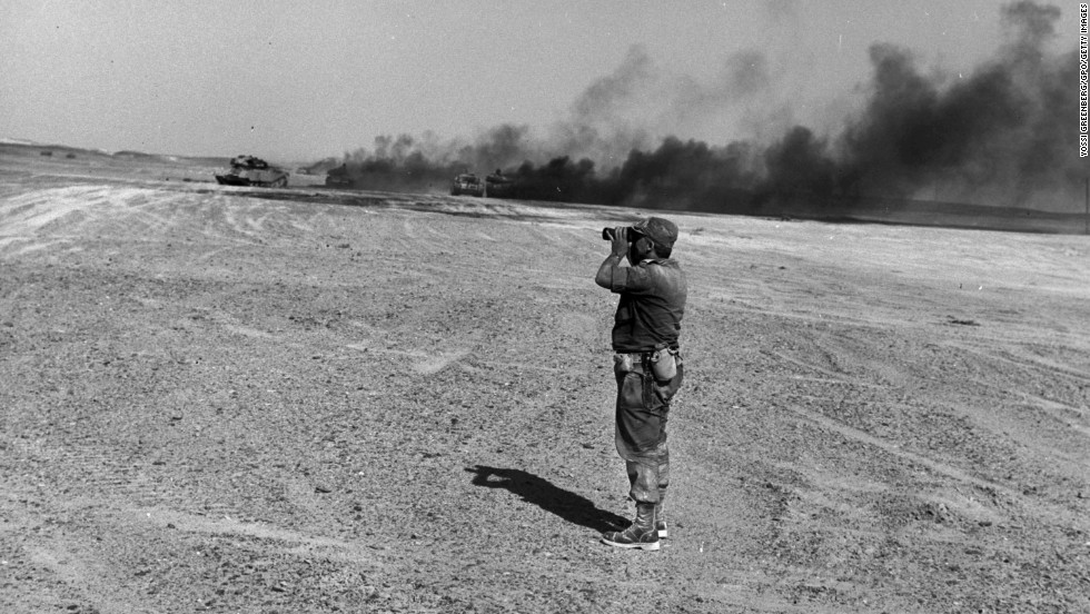 In June 1967, Sharon led his tank battalion to a crushing victory over the Egyptians in the Sinai during the Six-Day War. Here, he witnesses an aerial attack.
