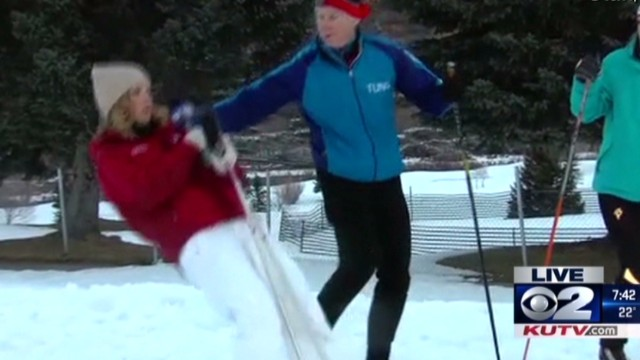 See reporter faint in snow, then...