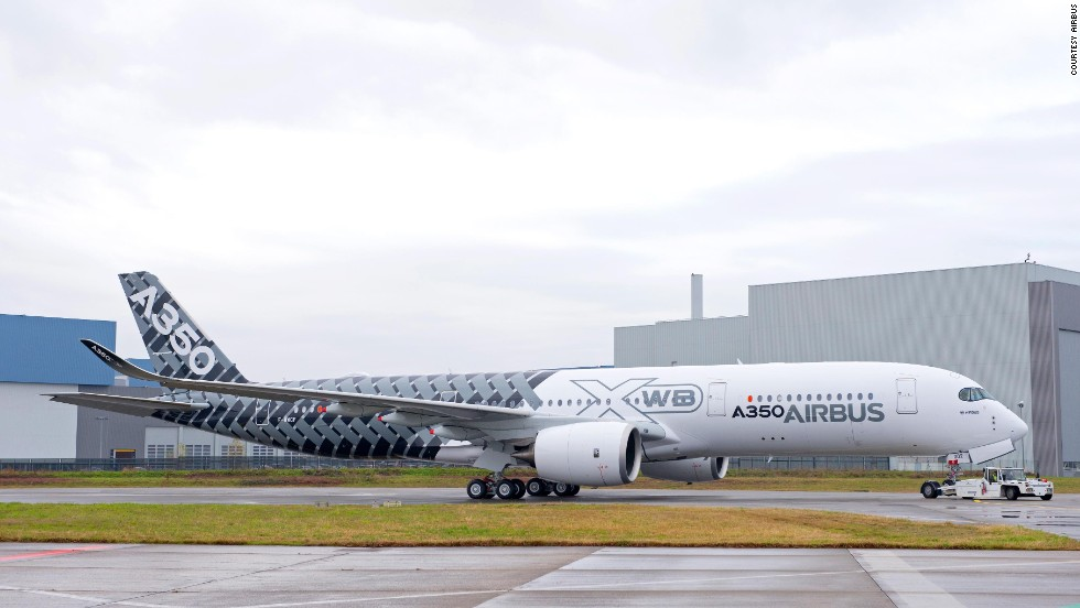 The third A350 XWB test plane with a 'carbon' livery unveiled at Airbus HQ in Toulouse on January 2, 2014.