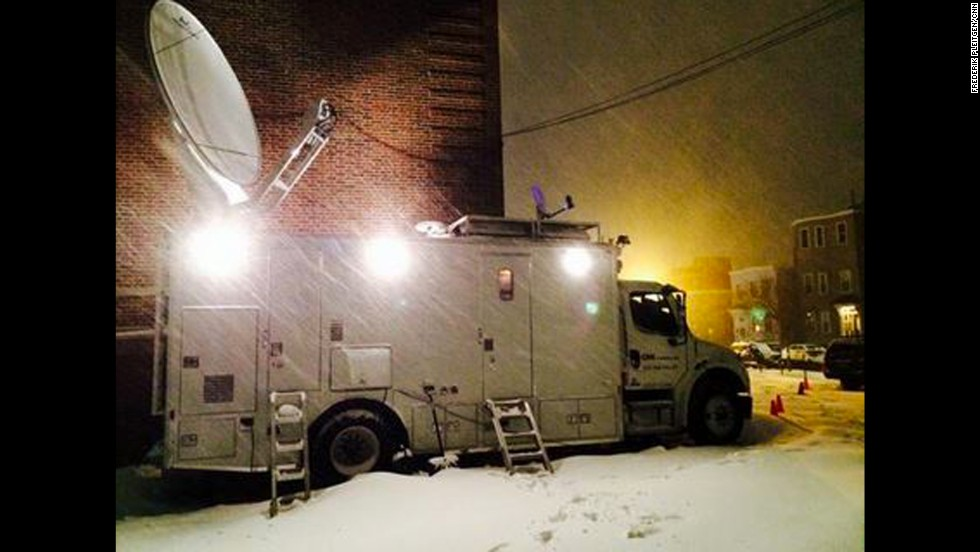 "CNN's Frederik Pleitgen reports from Boston, saying, ""Our live truck starting to look like an Antarctic research station."""