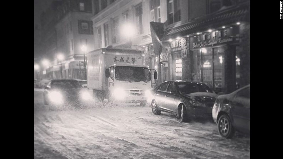 CNN producer Ross Levitt posted this behind-the-scenes photo of the snowstorm in Boston's Chinatown.