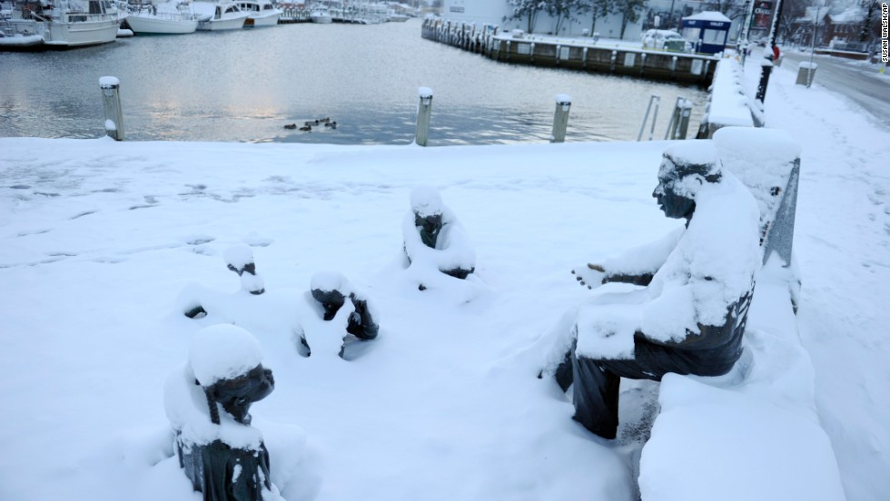 The Kunta Kinte-Alex Haley Memorial is covered in snow in Annapolis, Maryland, on January 3.