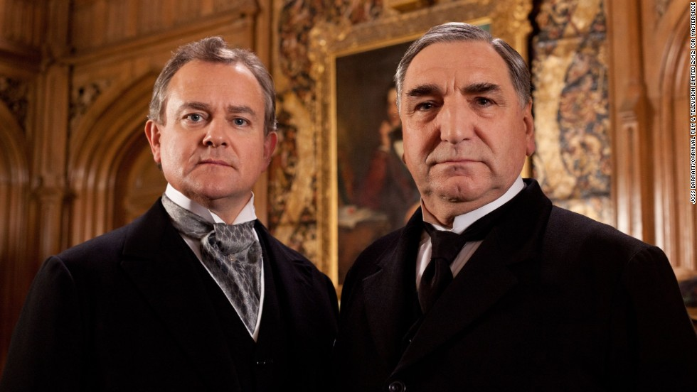 Lord Grantham (Hugh Bonneville, left) is trying to keep the estate in a financially sound place while adapting to the inevitable tide of progress. (Jim Carter, right, plays the dutiful Mr. Carson.)