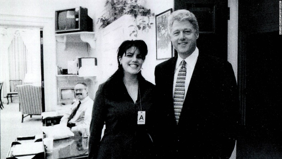 Lewinsky and Clinton pose for a photo at the White House. This photo was also used as evidence.
