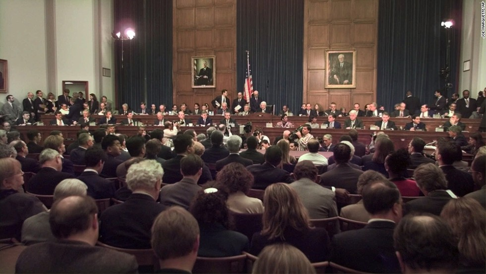 House Judiciary Committee Chairman Henry Hyde presides over the panel's Clinton impeachment hearing November 19, 1998. Starr was the opening witness.