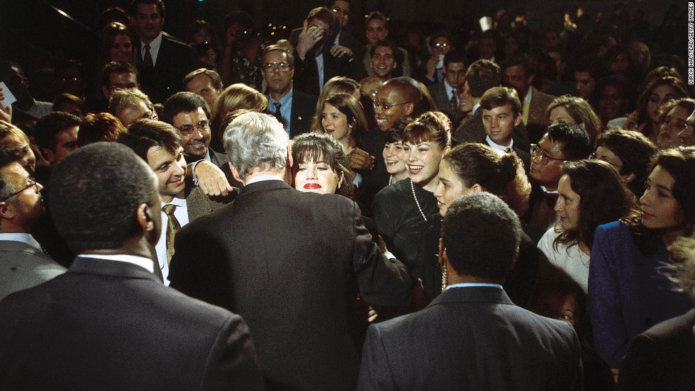 Lewinsky, a White House intern, embraces President Clinton at a Democratic fundraiser in Washington on October 23, 1996.