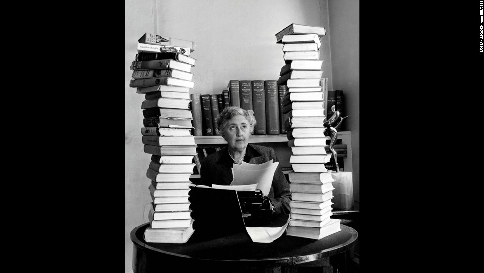 Mystery author Agatha Christie works at her home in this undated photo.