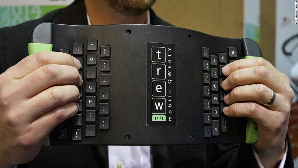 The Mobile QWERTY keyboard from TrewGrip flips and rotates the traditional keyboard. It works with tablets, phones and laptop computers.
