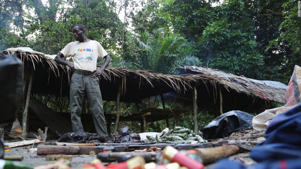 Guns, ammunition, bushmeat and other supplies found by Eco Guards at an active poacher's camp.