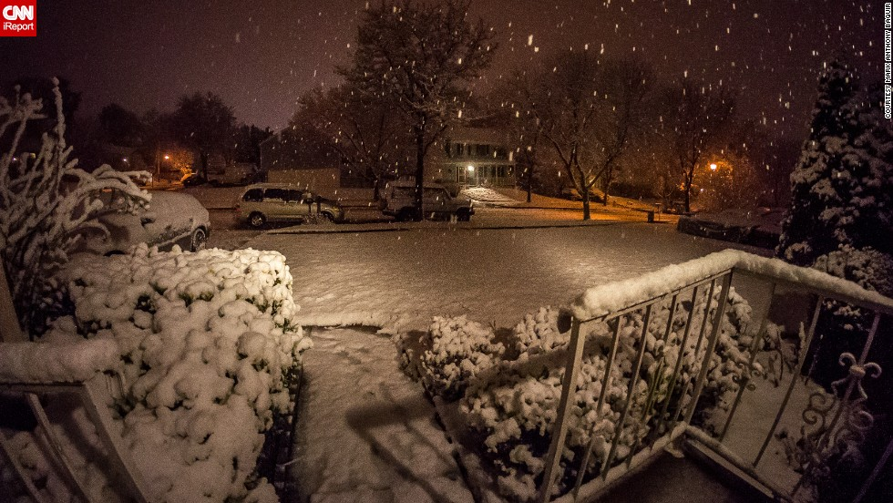 "Mark Anthony Baquir captured this photo of a snowy yard in Maryland on Friday, January 3. ""It seemed like no one was prepared for the storm in this part of Maryland,"" he said."