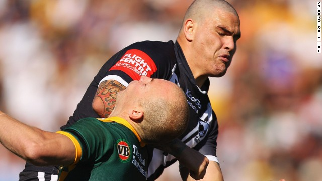 Rugby league player Russell Packer, pictured here in black playing for New Zealand in 2011, has been sentenced to jail for a late night assault in Sydney.