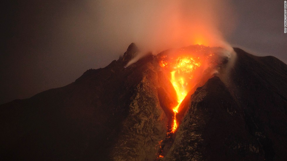 Hot lava runs down Mount Sinabung, one of Indonesia's highest mountains, from a lava dome on January 5.