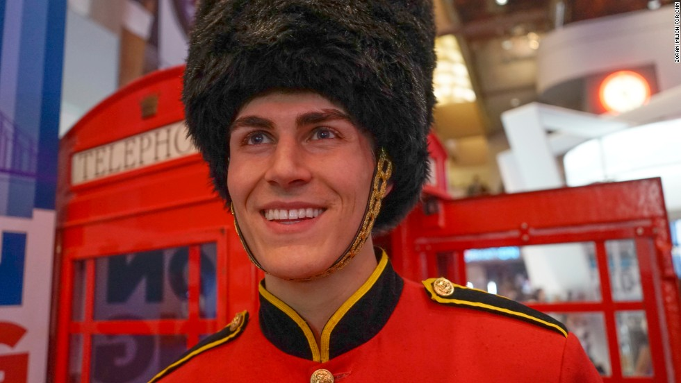 A man dressed as a member of the Queen's Guard promotes Ooma, a voice-over-Internet system.