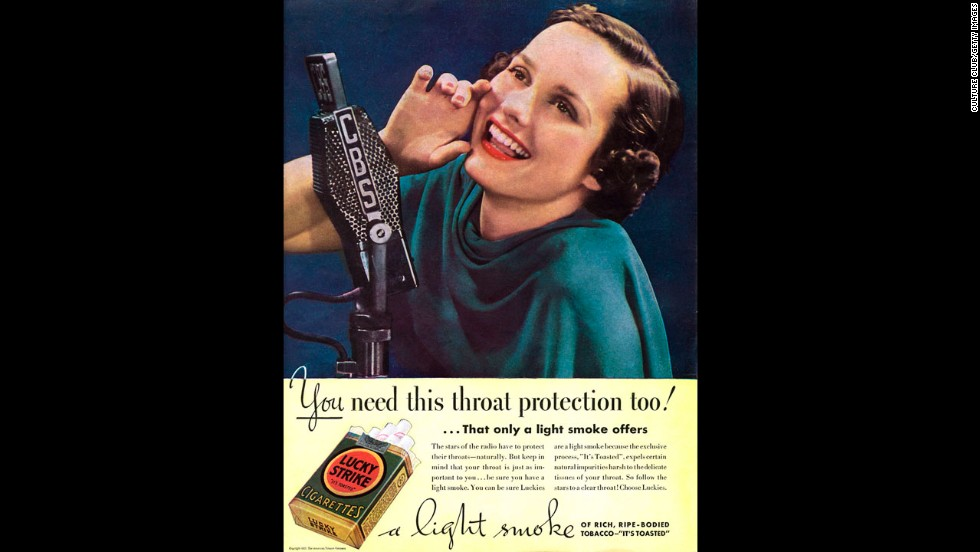 "This advertisement for Lucky Strike cigarettes says their ""light smoke"" offers throat protection."