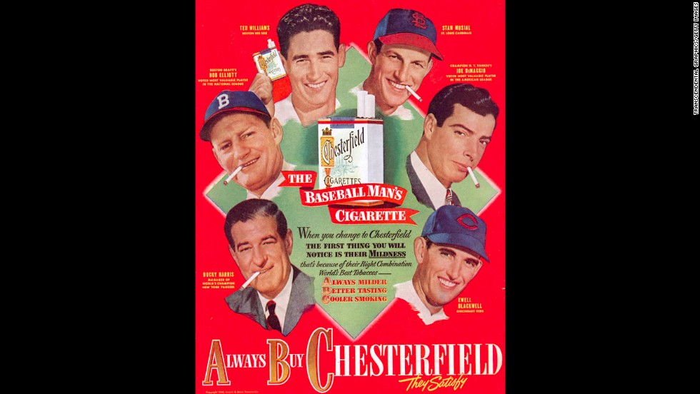 Baseball players Ted Williams, Stan Musial, Joe DiMaggio, Jackie Jensen, Bucky Harris and Ewell Blackwell advertise Chesterfield cigarettes in a magazine ad from around 1950.