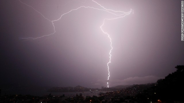 Flashes of lightning strike across the sky. (File photo)