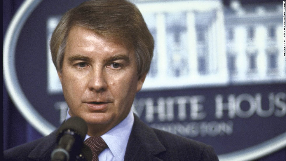 "<a href=""http://www.cnn.com/2014/01/10/politics/reagan-spokesman-dies/index.html"" target=""_blank"">Larry Speakes</a>, who served as President Ronald Reagan's press secretary, died January 10 at his home in Cleveland, Mississippi, following a lengthy illness, according to Bolivar County Coroner Nate Brown. He was 74."