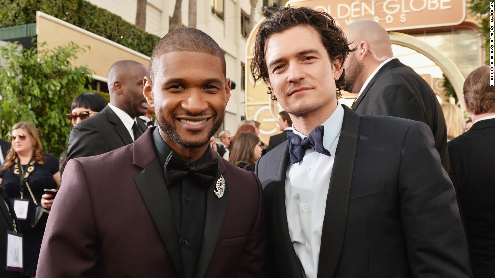 Usher, left, and Orlando Bloom