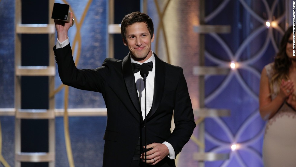 Actor and comedian Andy Samberg, seen here accepting a Golden Globe award, hosted the 2015 Emmys to mixed reviews.