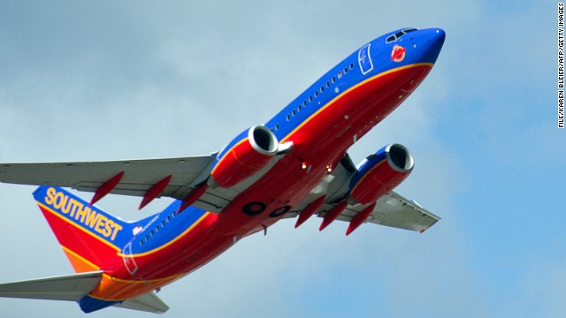 A Southwest Airlines jet takes off from Fort Lauderdale-Hollywood International Airport on February 21, 2013.