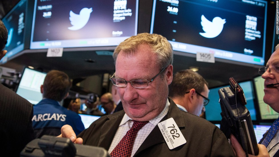 A trader on the floor of the New York Stock Exchange works with the Twitter logo behind him. In November, Twitter priced its initial public offering at $26, higher than its previous range. The price soared almost 73% once it started trading.