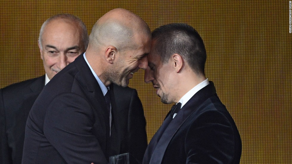 This was not a repeat of Zinedine Zidane's headbutt in the 2006 World Cup, but a warmer embrace as the Frenchman hands Bayern Munich's Franck Ribery his FIFA/FIFPro World XI award. Once tipped to win the main prize itself, Ribery eventually finished third despite winning five major trophies in 2013.