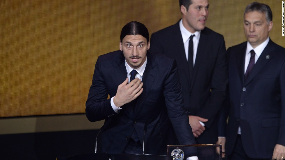 Zlatan Ibrahimovic addresses the audience after winning the FIFA Puskas award for best goal, with the Swede's overhead strike against England deemed better than efforts by rivals Nemanja Matic of Serbia and Brazil's Neymar.