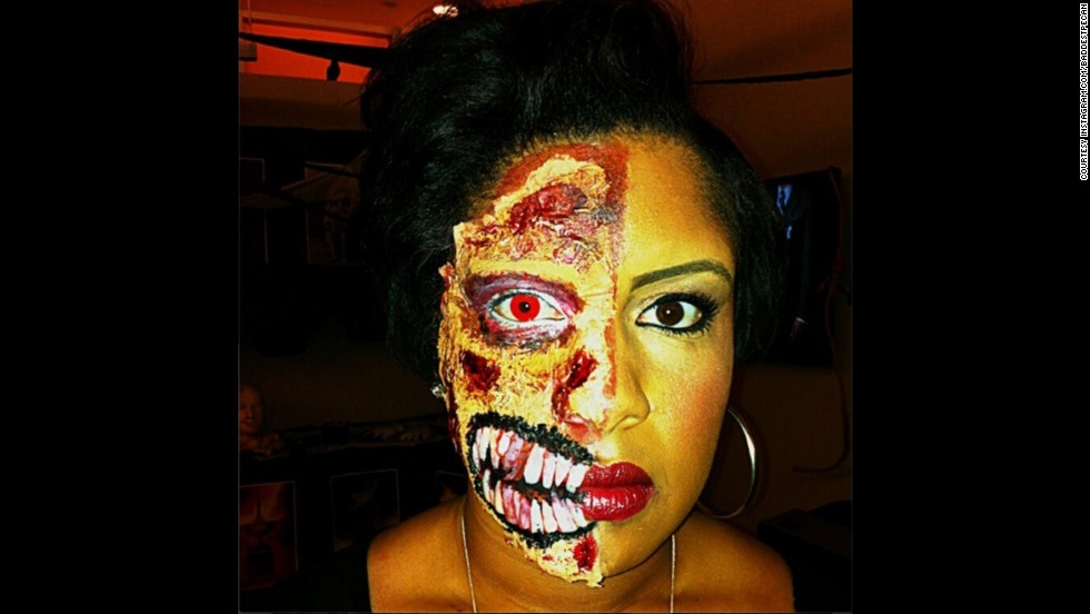 "<strong>#HalloweenSelfie winner —</strong> ""<a href=""http://instagram.com/p/gIsnK-qW3t/"" target=""_blank"">@baddestpecan</a> did an incredible job with her Halloween makeup,"" Bolduan said. ""You're both terrifying and beautiful!"""