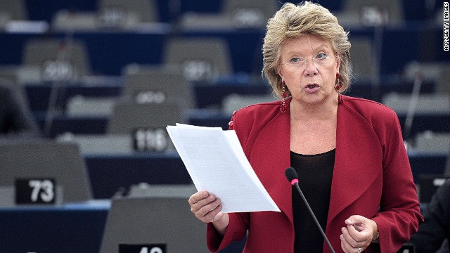 European Union Commissioner for Justice Viviane Reding speaks during a debate on the situation of Roma people at the European Parliament in Strasbourg, eastern France, on October 9, 2013. AFP PHOTO/FREDERICK FLORINFREDERICK FLORIN/AFP/Getty Images